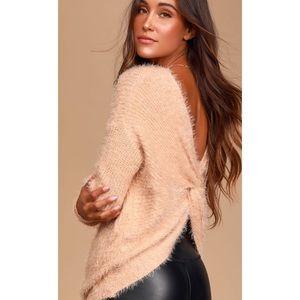✨SALE✨ Lulu's Pink Eyelash Knit Twist Back Sweater
